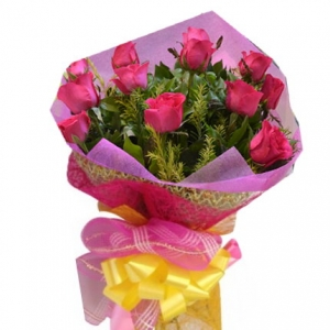 12 Red Roses w/ Greenery Bouquet